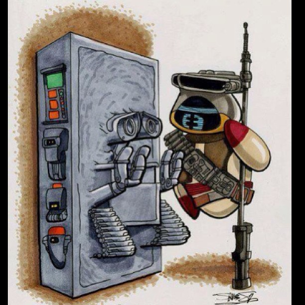 Wall e star wars style epic geekdom - Han solo carbonite wall art ...